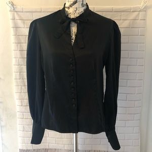 Tom Ford black tie neck satin blouse butto…